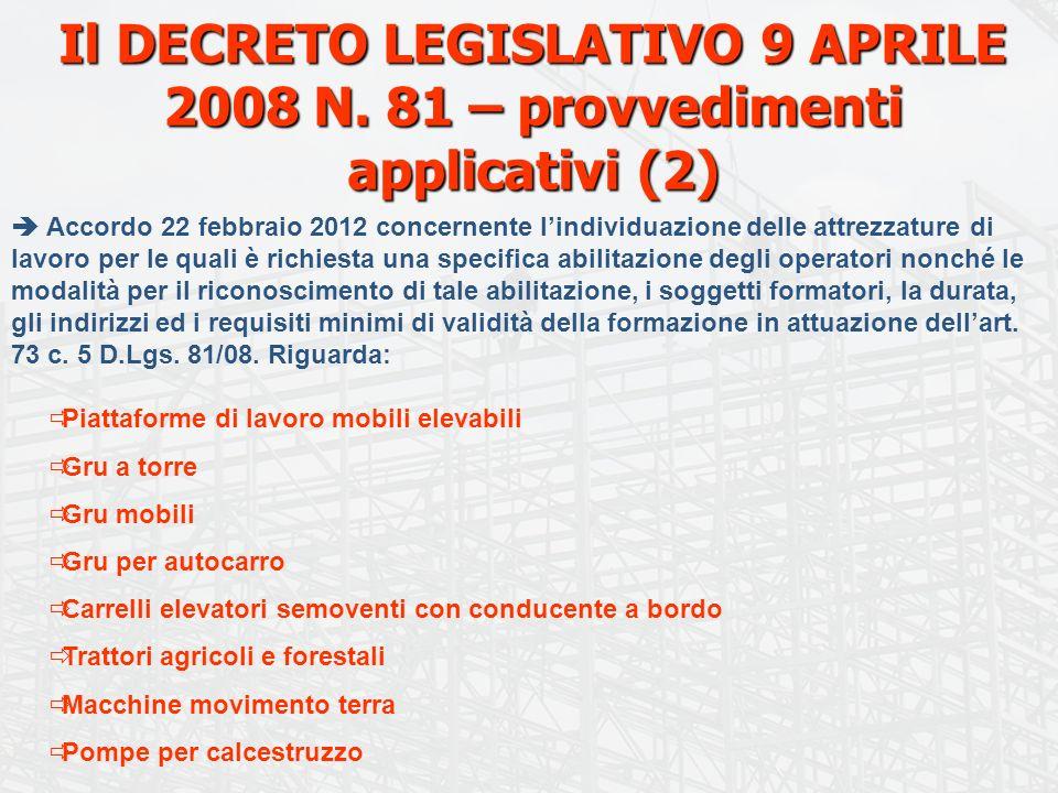 Il DECRETO LEGISLATIVO 9 APRILE 2008 N