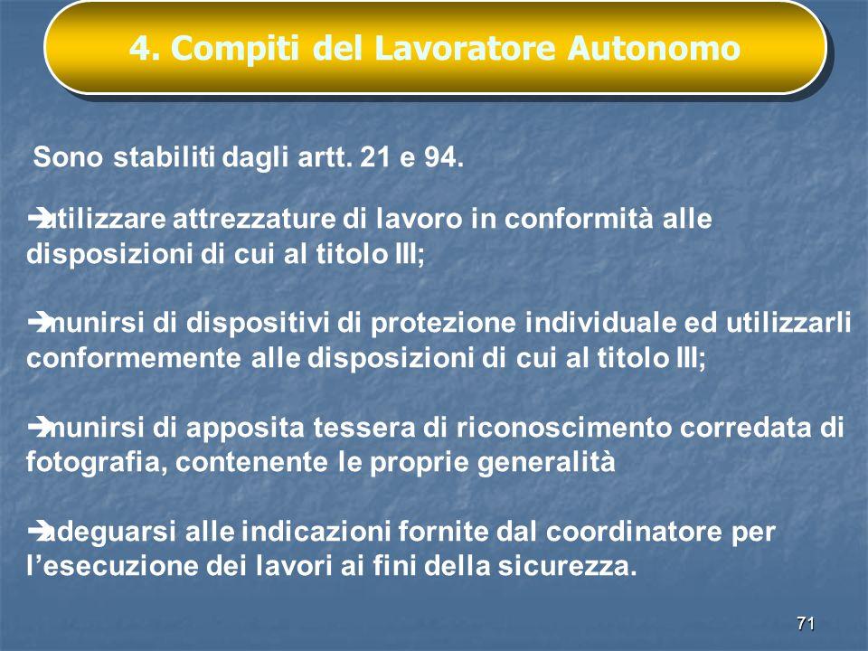 4. Compiti del Lavoratore Autonomo