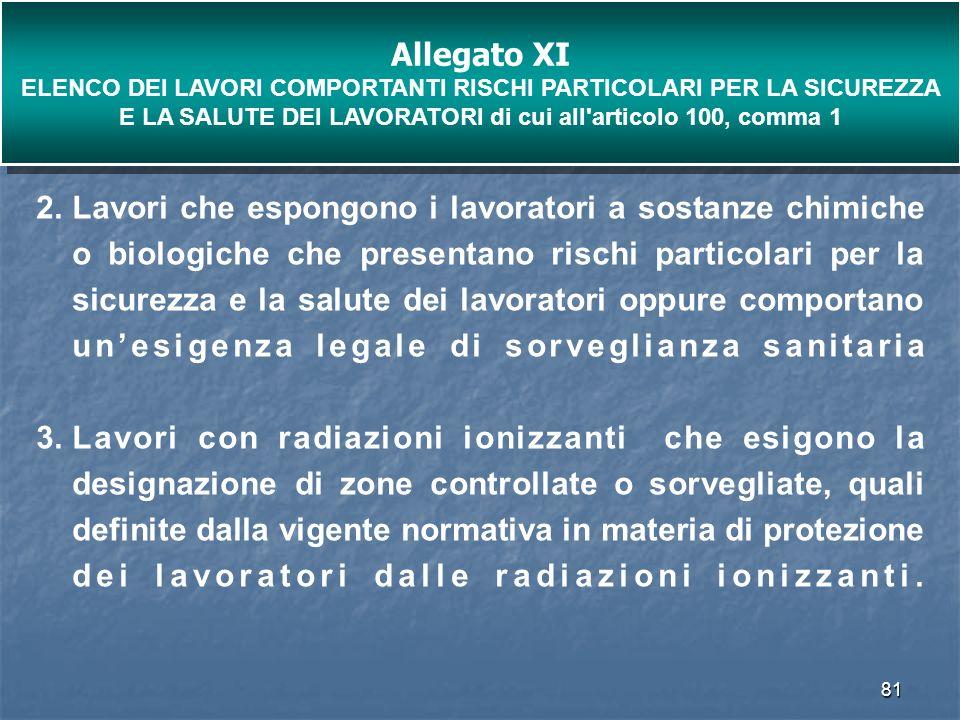 Allegato XI ELENCO DEI LAVORI COMPORTANTI RISCHI PARTICOLARI PER LA SICUREZZA E LA SALUTE DEI LAVORATORI di cui all articolo 100, comma 1.