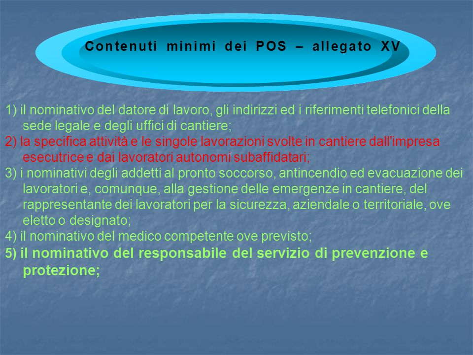 Contenuti minimi dei POS – allegato XV