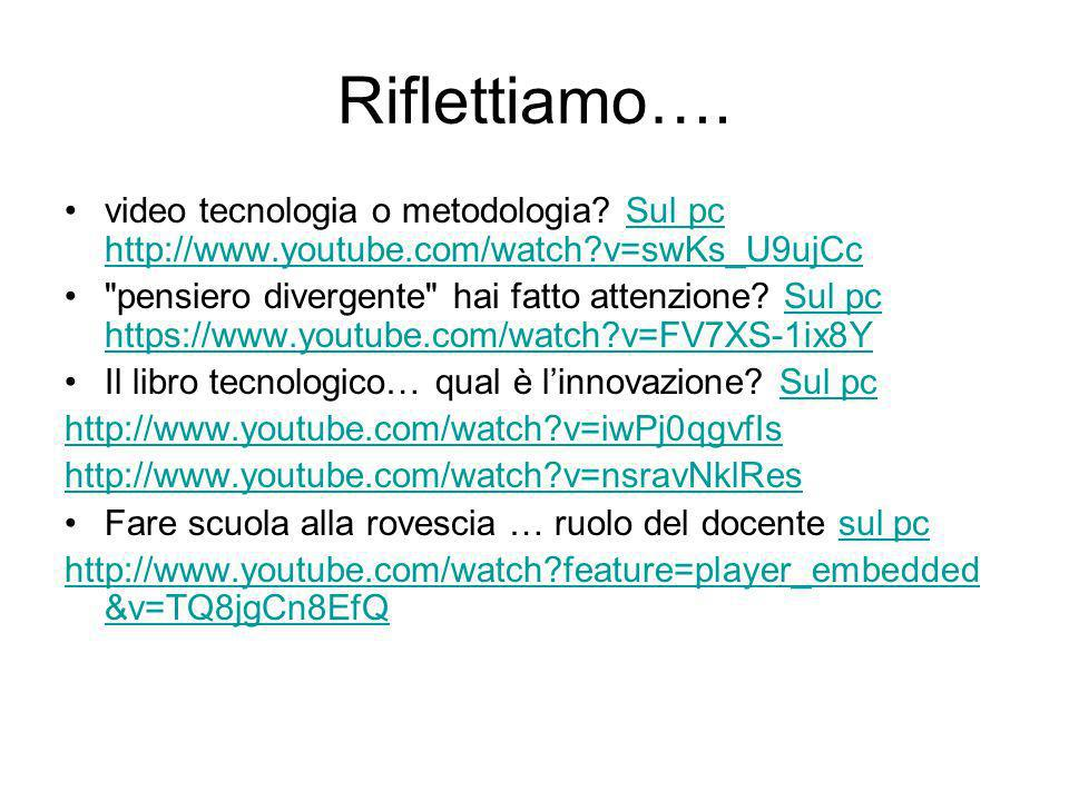 Riflettiamo…. video tecnologia o metodologia Sul pc http://www.youtube.com/watch v=swKs_U9ujCc.