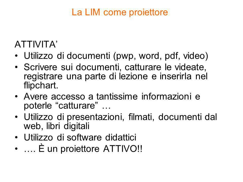 La LIM come proiettore ATTIVITA' Utilizzo di documenti (pwp, word, pdf, video)