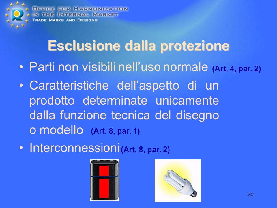 Esclusione dalla protezione