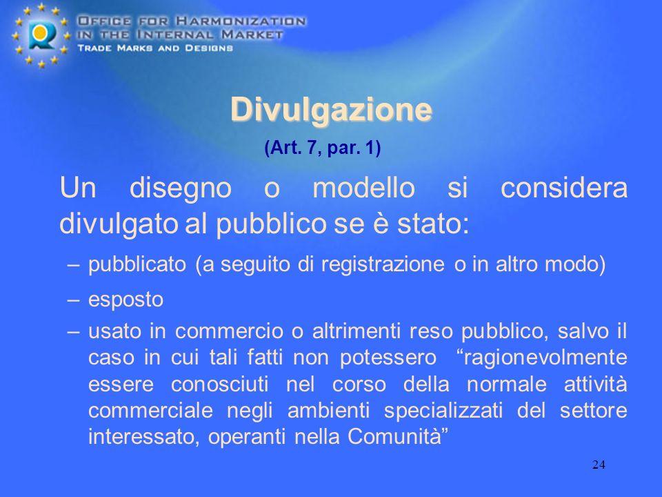 Divulgazione(Art. 7, par. 1) Un disegno o modello si considera divulgato al pubblico se è stato: