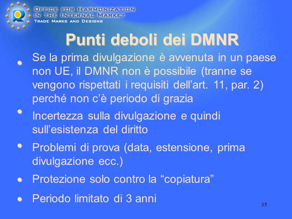 Punti deboli dei DMNR