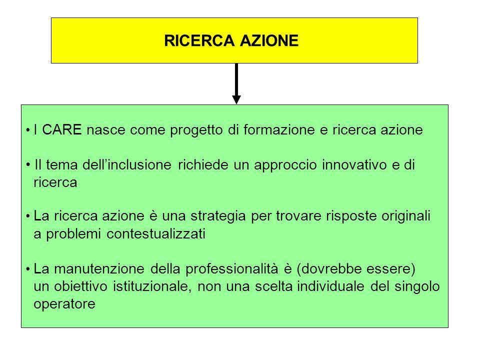 RICERCA AZIONEI CARE nasce come progetto di formazione e ricerca azione. Il tema dell'inclusione richiede un approccio innovativo e di.
