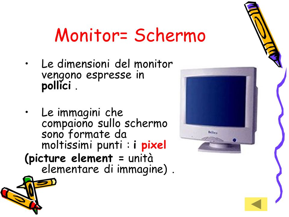 Monitor= SchermoLe dimensioni del monitor vengono espresse in pollici .