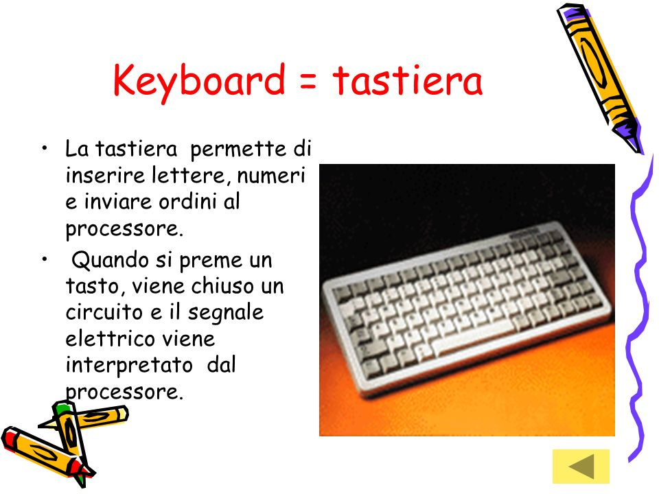Keyboard = tastiera La tastiera permette di inserire lettere, numeri e inviare ordini al processore.