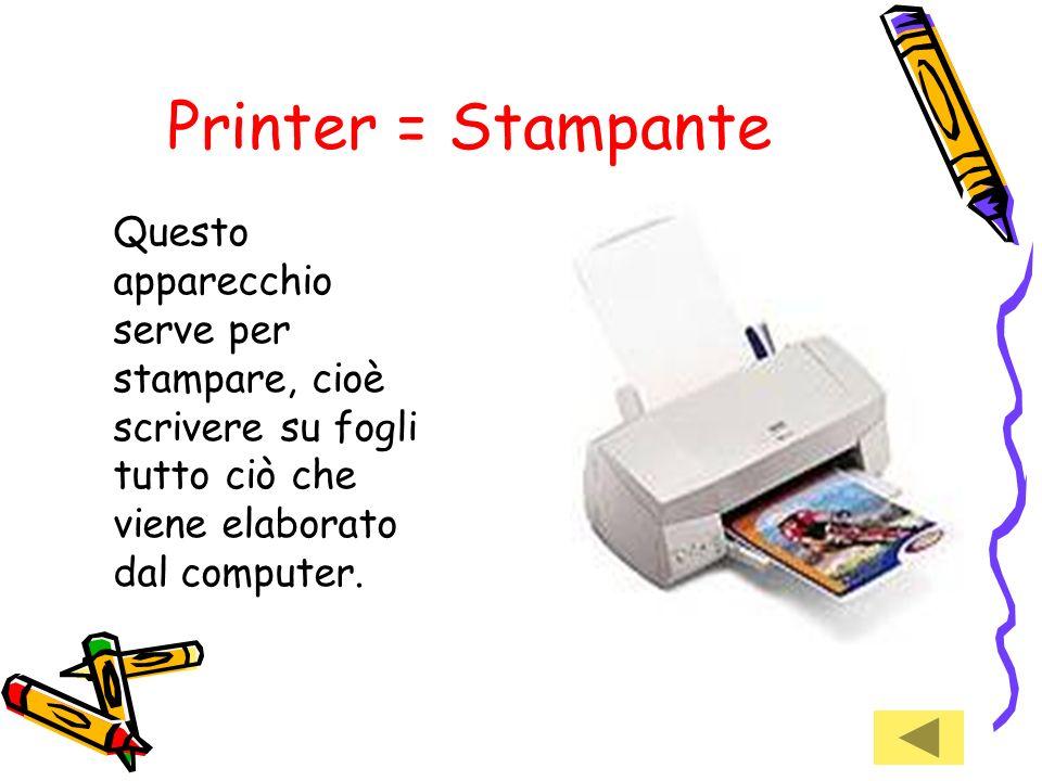 Printer = StampanteQuesto apparecchio serve per stampare, cioè scrivere su fogli tutto ciò che viene elaborato dal computer.