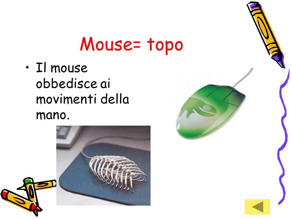 Mouse= topo Il mouse obbedisce ai movimenti della mano.