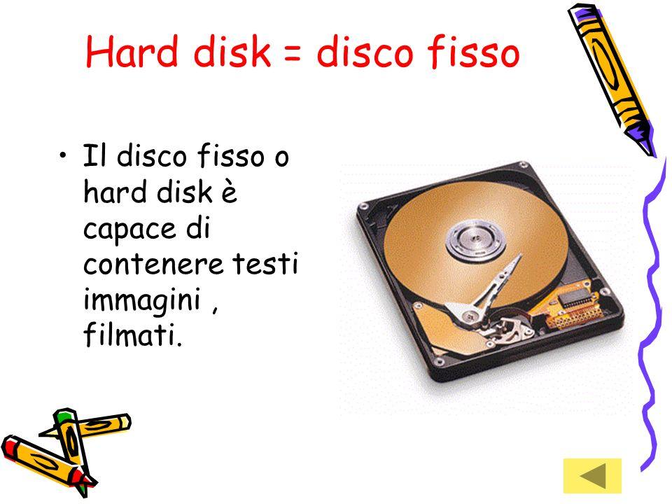 Hard disk = disco fisso Il disco fisso o hard disk è capace di contenere testi immagini , filmati.