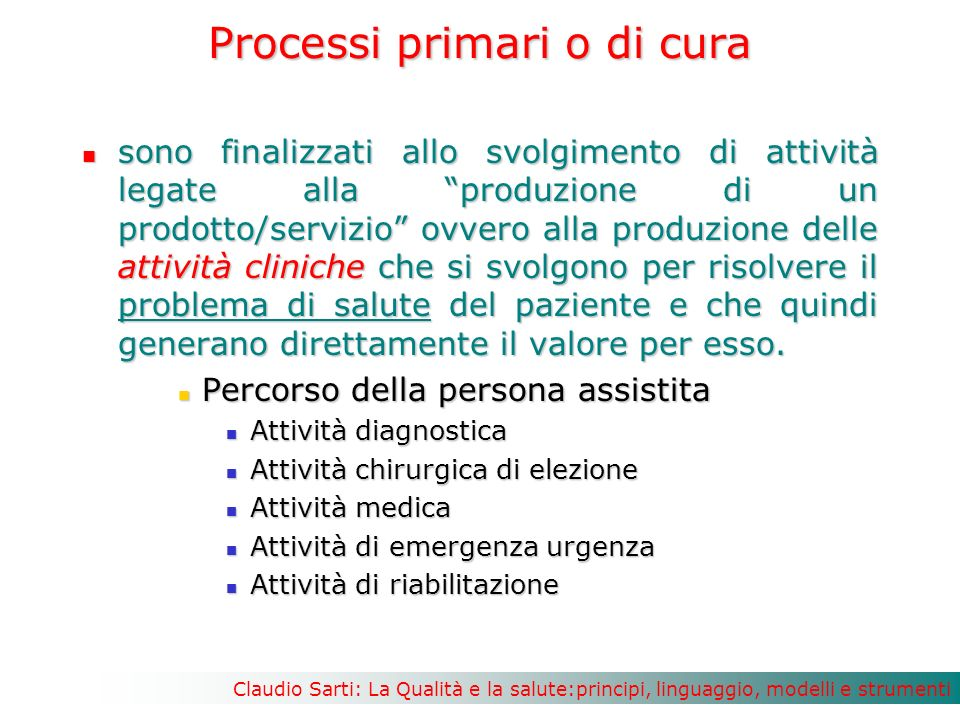 Processi primari o di cura