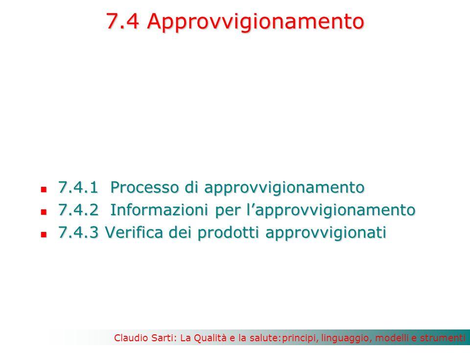 7.4 Approvvigionamento 7.4.1 Processo di approvvigionamento