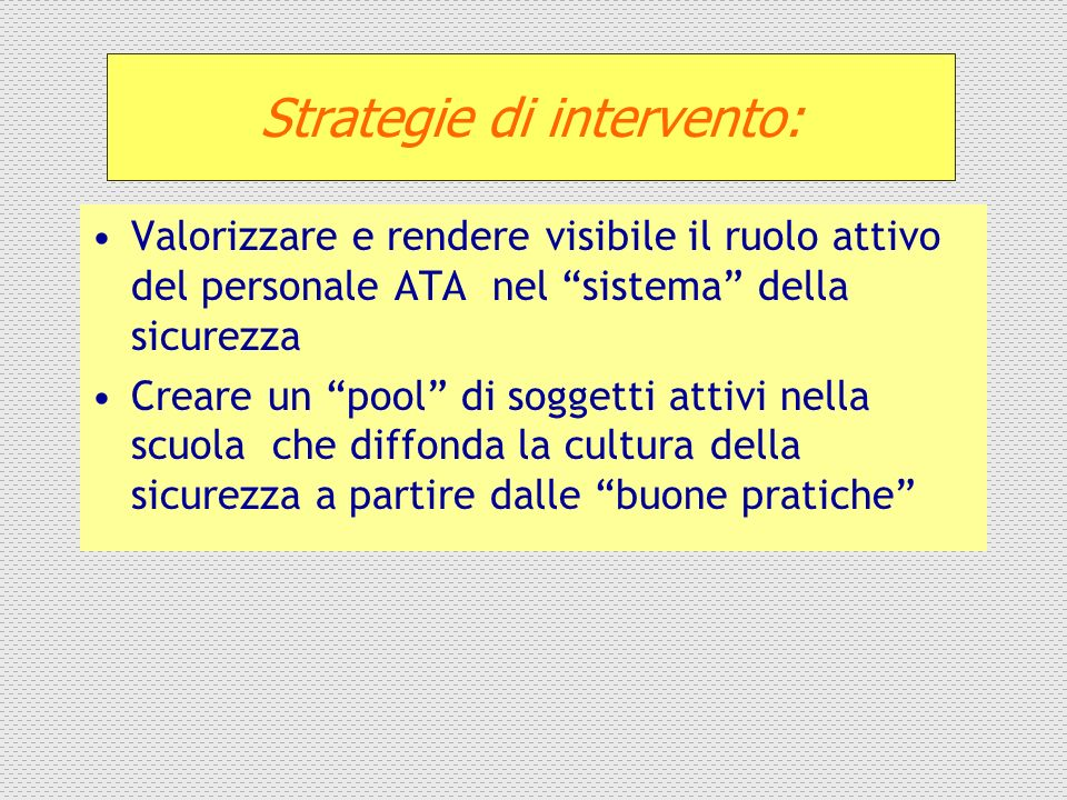 Strategie di intervento: