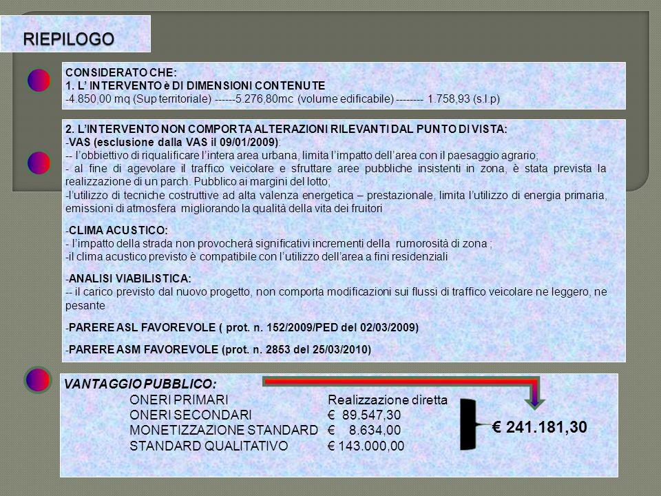 RIEPILOGO € 241.181,30 VANTAGGIO PUBBLICO: