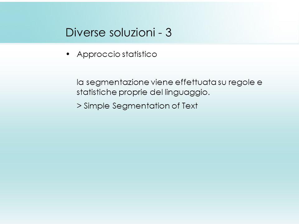 Diverse soluzioni - 3 Approccio statistico