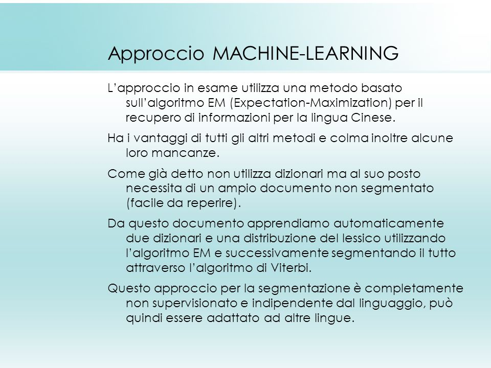 Approccio MACHINE-LEARNING