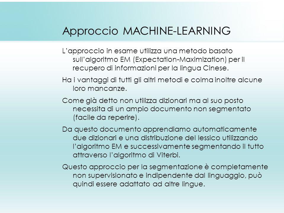 Approccio MACHINE-LEARNING