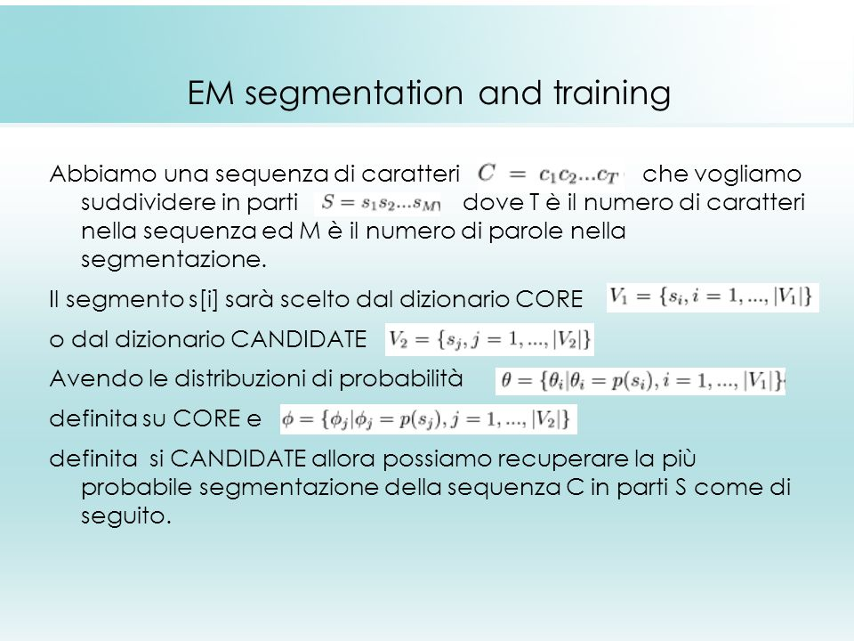EM segmentation and training