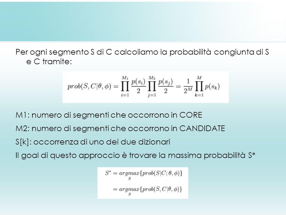 Per ogni segmento S di C calcoliamo la probabilità congiunta di S e C tramite: