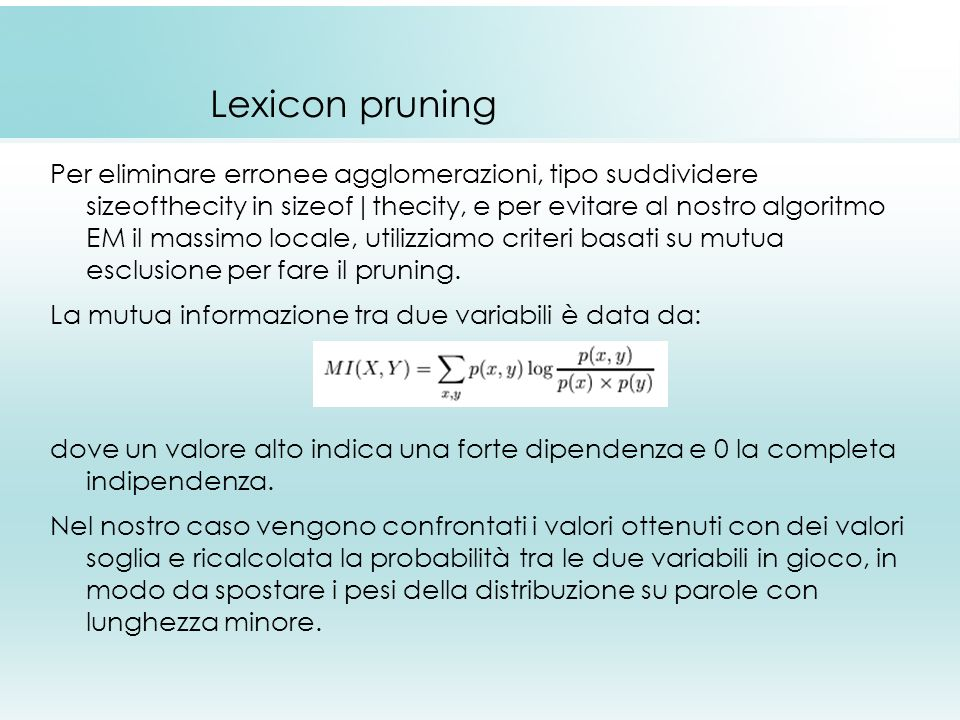 Lexicon pruning
