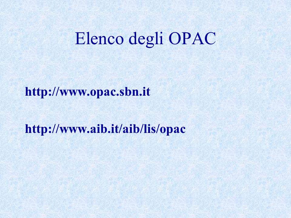 Elenco degli OPAC http://www.opac.sbn.it