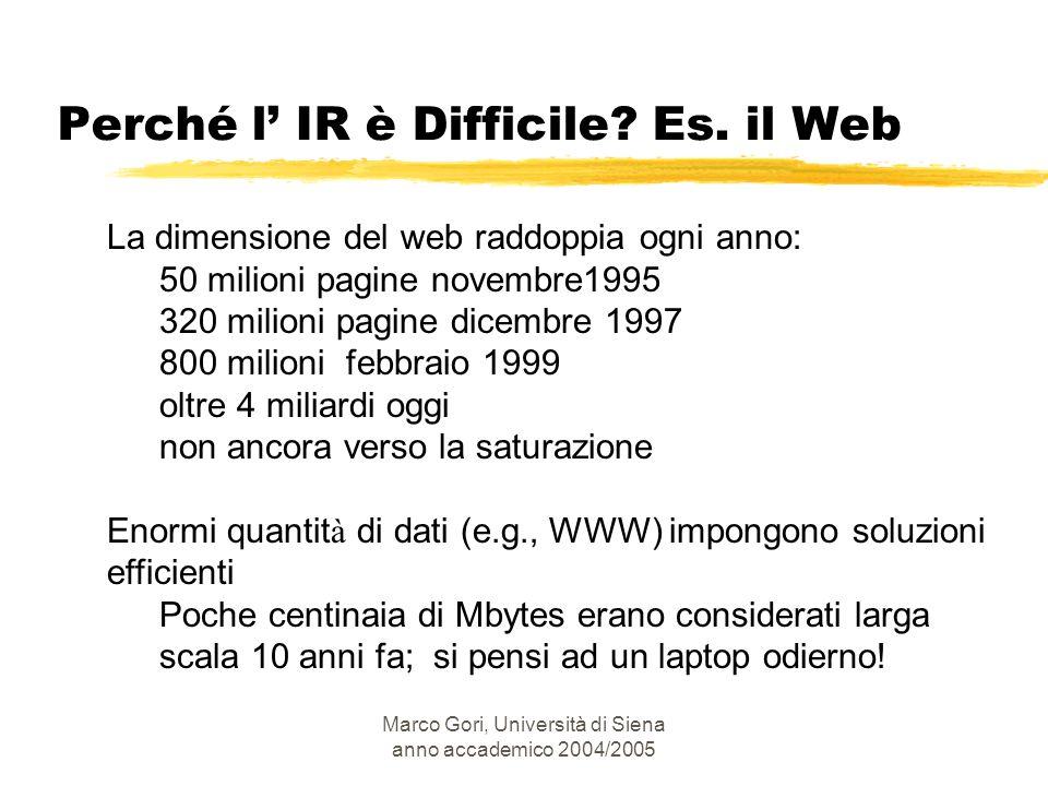 Perché l' IR è Difficile Es. il Web