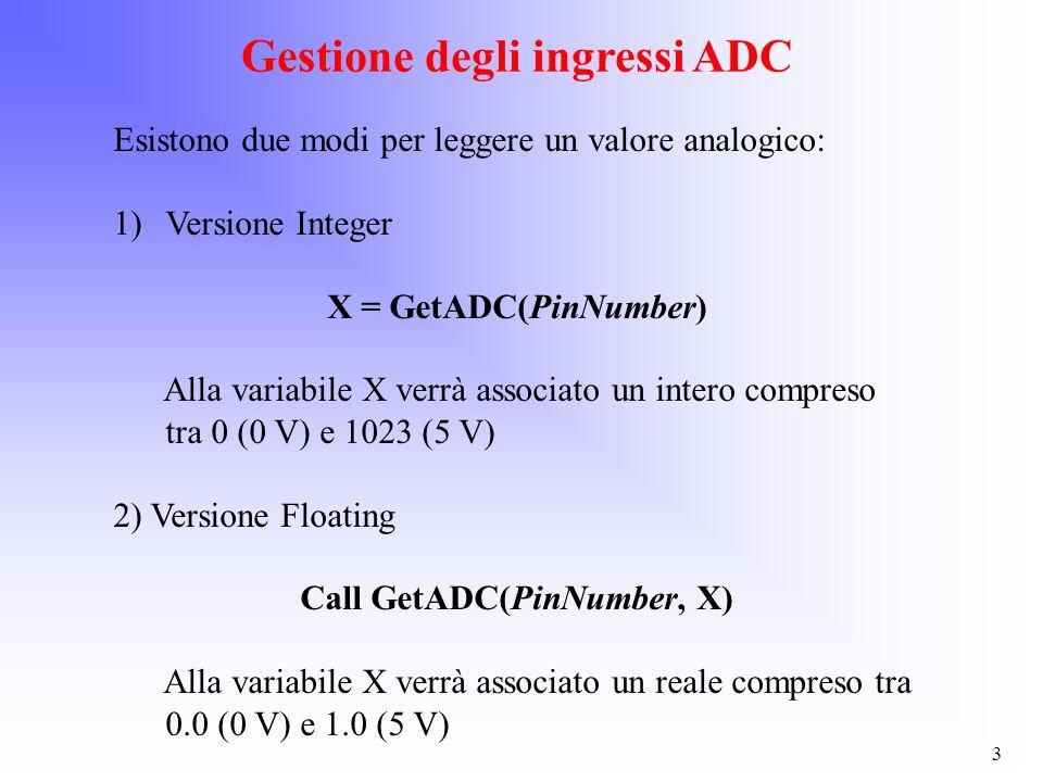 Gestione degli ingressi ADC Call GetADC(PinNumber, X)