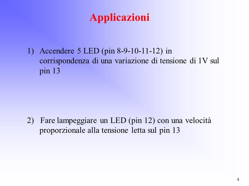 Applicazioni Accendere 5 LED (pin 8-9-10-11-12) in corrispondenza di una variazione di tensione di 1V sul pin 13.