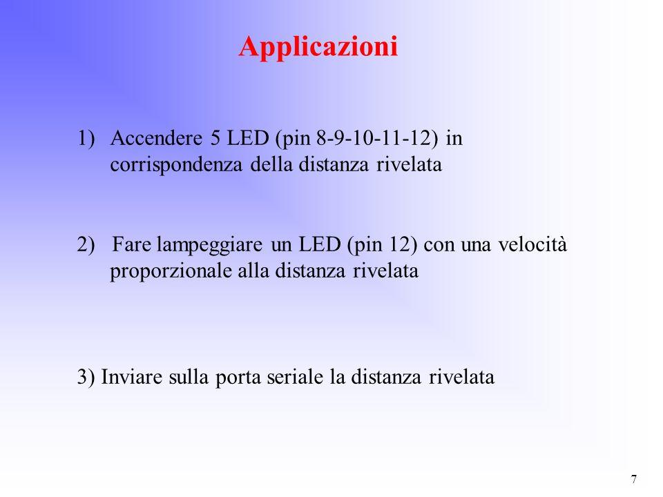 ApplicazioniAccendere 5 LED (pin 8-9-10-11-12) in corrispondenza della distanza rivelata.