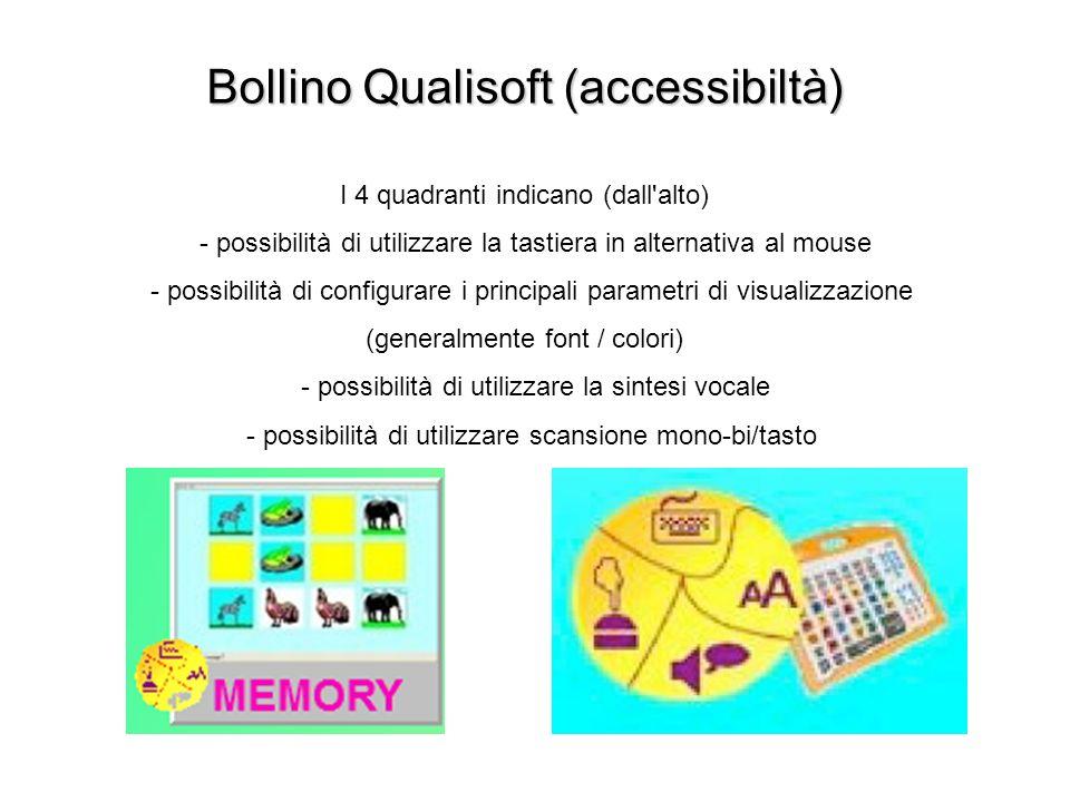 Bollino Qualisoft (accessibiltà) I 4 quadranti indicano (dall alto) - possibilità di utilizzare la tastiera in alternativa al mouse - possibilità di configurare i principali parametri di visualizzazione (generalmente font / colori) - possibilità di utilizzare la sintesi vocale - possibilità di utilizzare scansione mono-bi/tasto