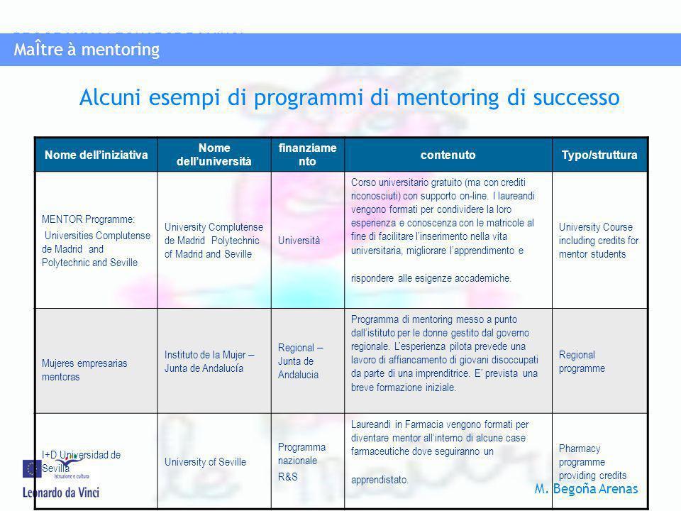 Alcuni esempi di programmi di mentoring di successo