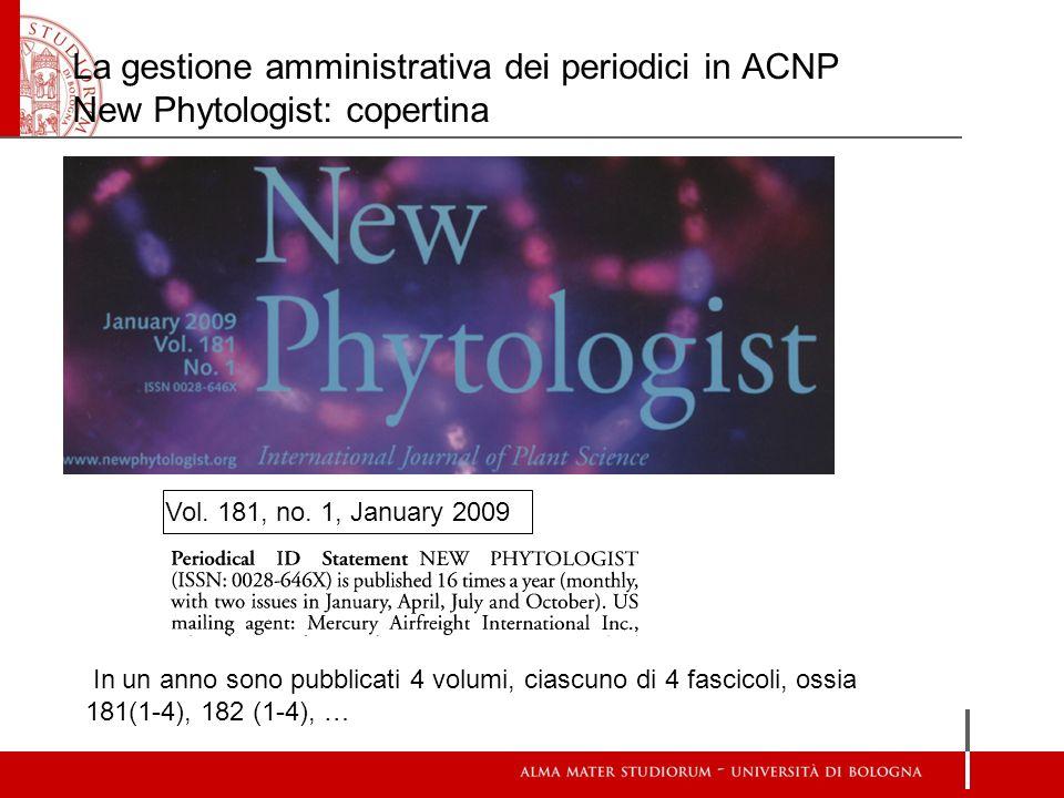 La gestione amministrativa dei periodici in ACNP New Phytologist: copertina