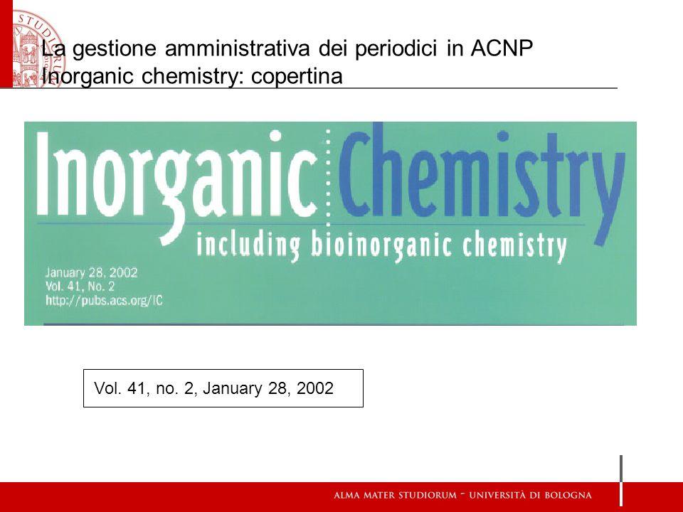La gestione amministrativa dei periodici in ACNP Inorganic chemistry: copertina