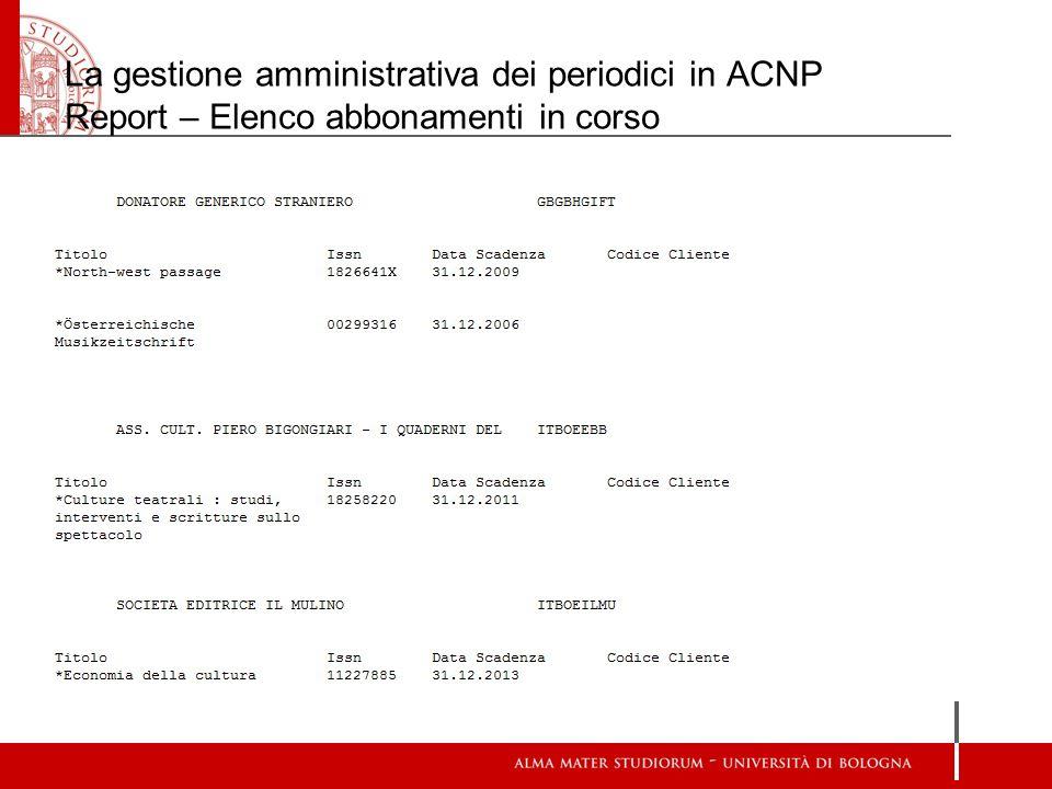 La gestione amministrativa dei periodici in ACNP Report – Elenco abbonamenti in corso