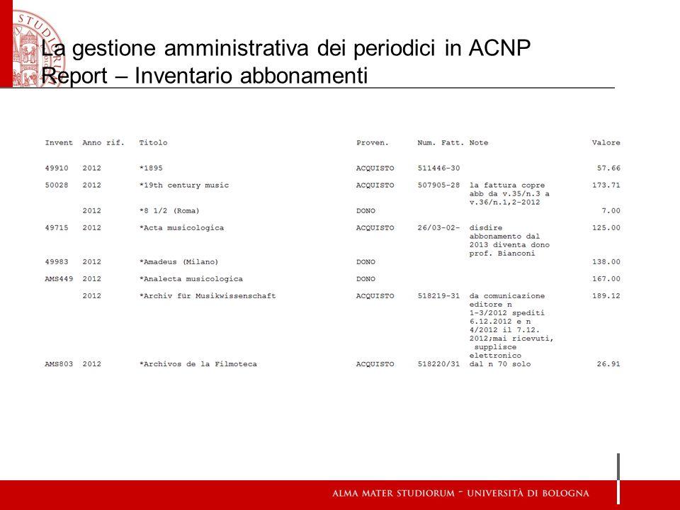 La gestione amministrativa dei periodici in ACNP Report – Inventario abbonamenti