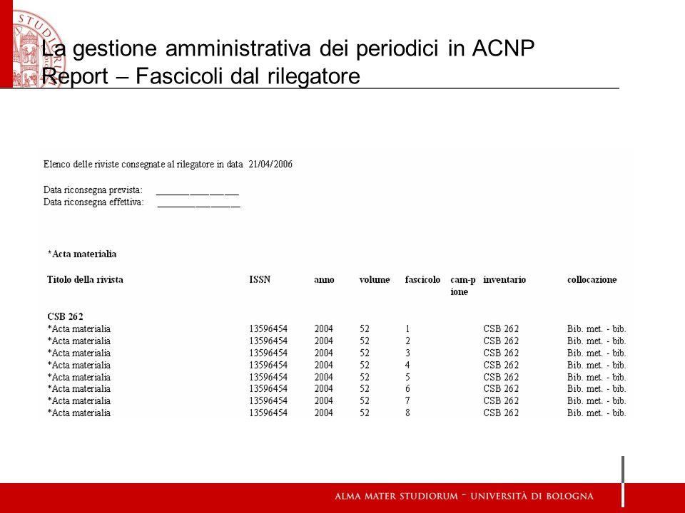 La gestione amministrativa dei periodici in ACNP Report – Fascicoli dal rilegatore