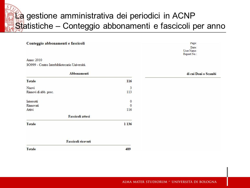 La gestione amministrativa dei periodici in ACNP Statistiche – Conteggio abbonamenti e fascicoli per anno