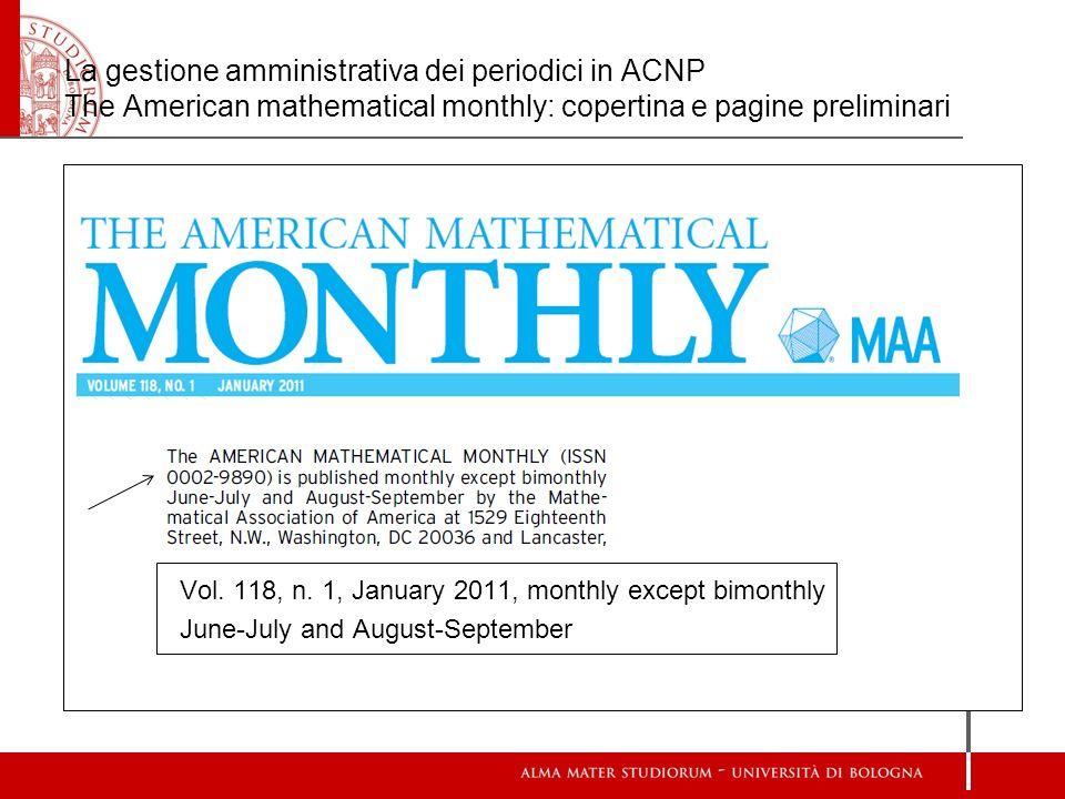 La gestione amministrativa dei periodici in ACNP The American mathematical monthly: copertina e pagine preliminari