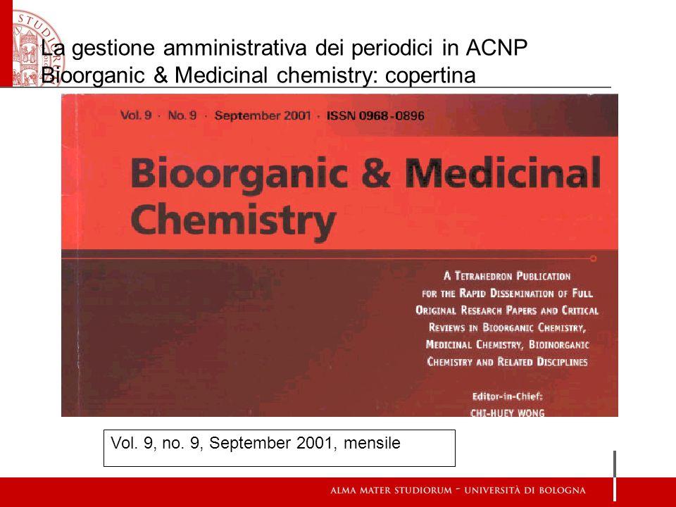 La gestione amministrativa dei periodici in ACNP Bioorganic & Medicinal chemistry: copertina