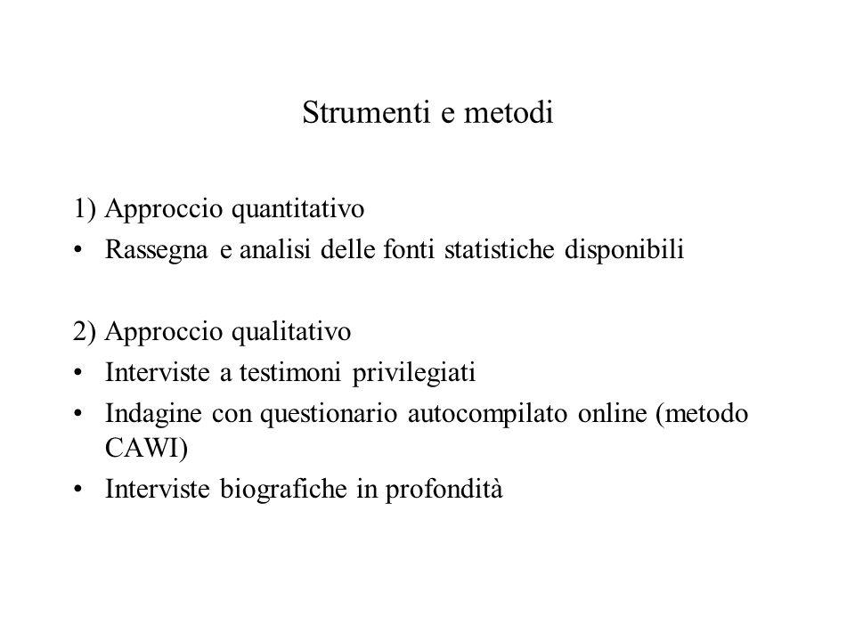 Strumenti e metodi 1) Approccio quantitativo