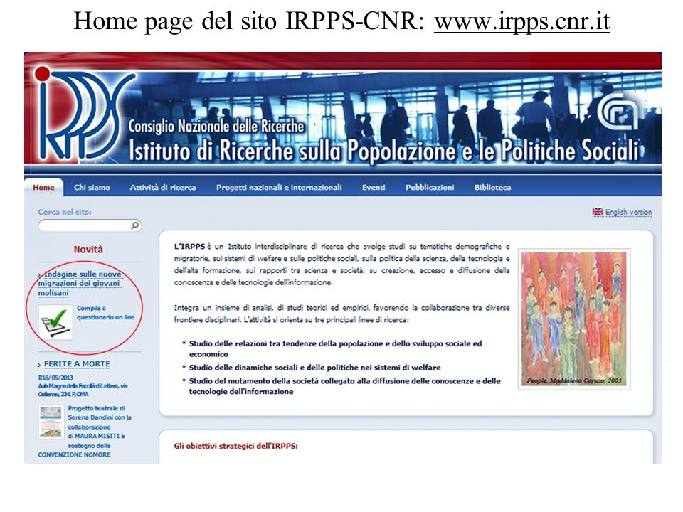 Home page del sito IRPPS-CNR: www.irpps.cnr.it