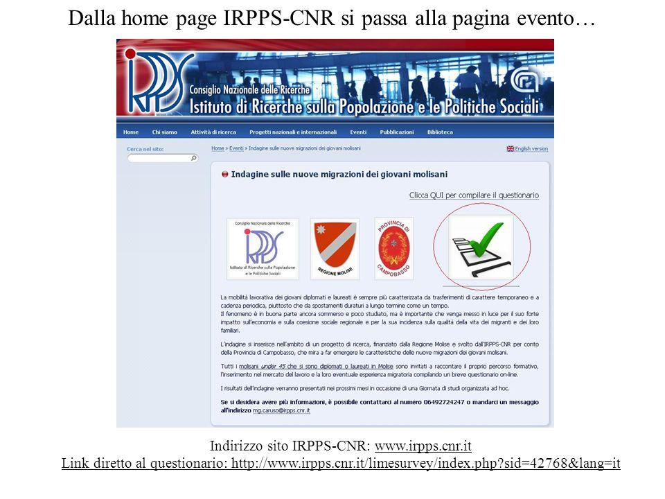 Dalla home page IRPPS-CNR si passa alla pagina evento…