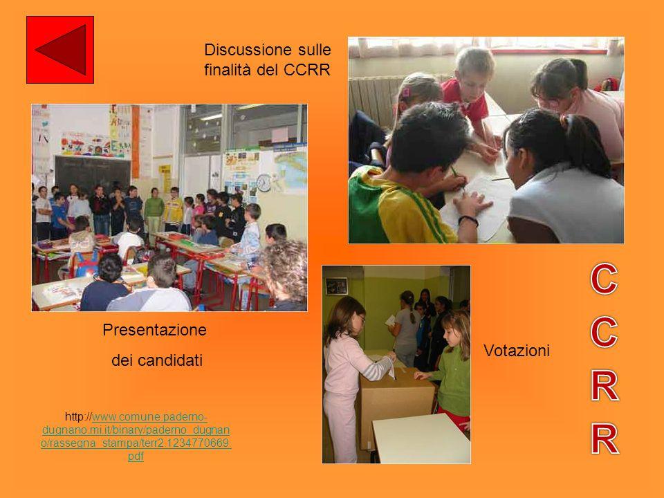 CCRR Discussione sulle finalità del CCRR Presentazione dei candidati