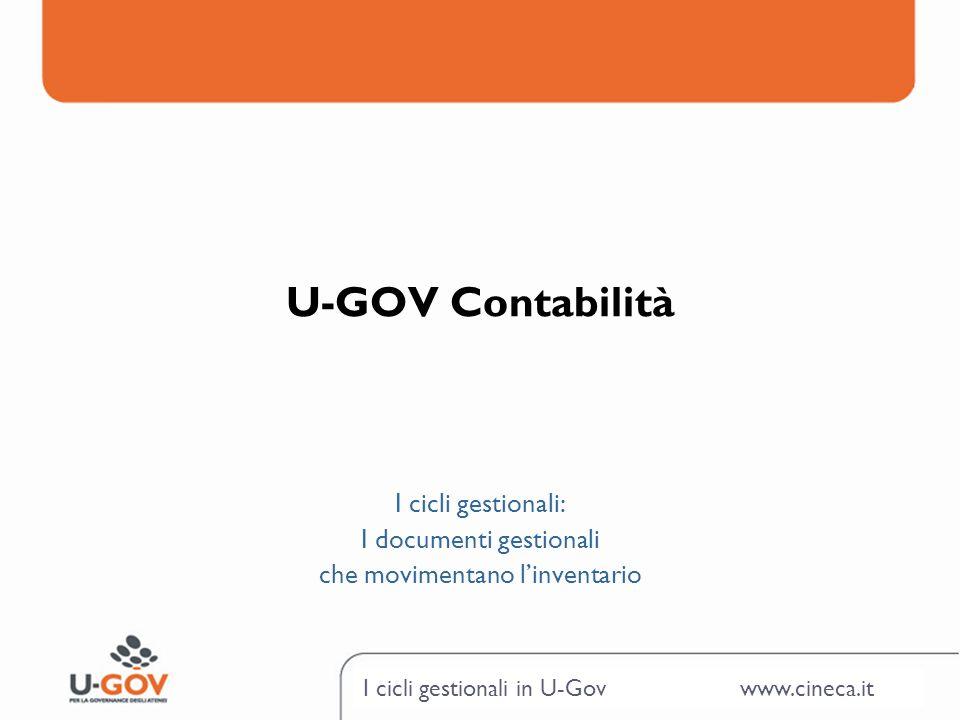 U-GOV Contabilità I cicli gestionali: I documenti gestionali