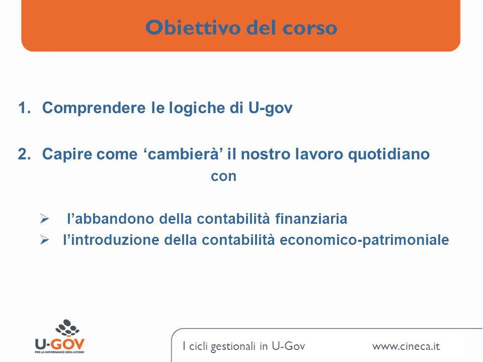 Obiettivo del corso Comprendere le logiche di U-gov