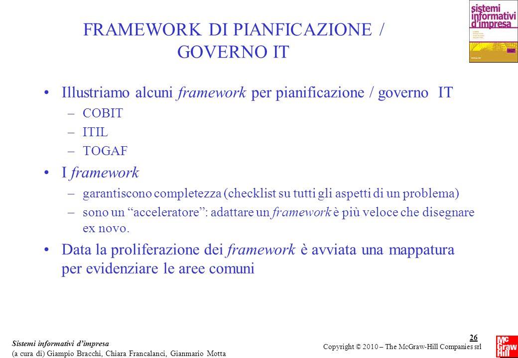 FRAMEWORK DI PIANFICAZIONE / GOVERNO IT