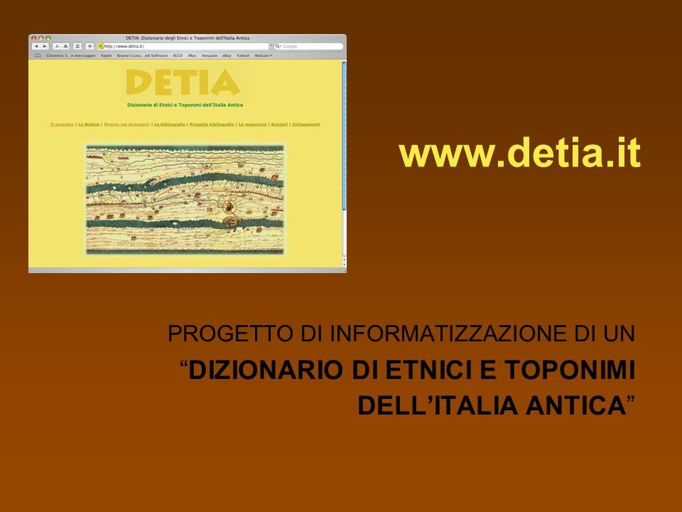 www.detia.it DIZIONARIO DI ETNICI E TOPONIMI DELL'ITALIA ANTICA