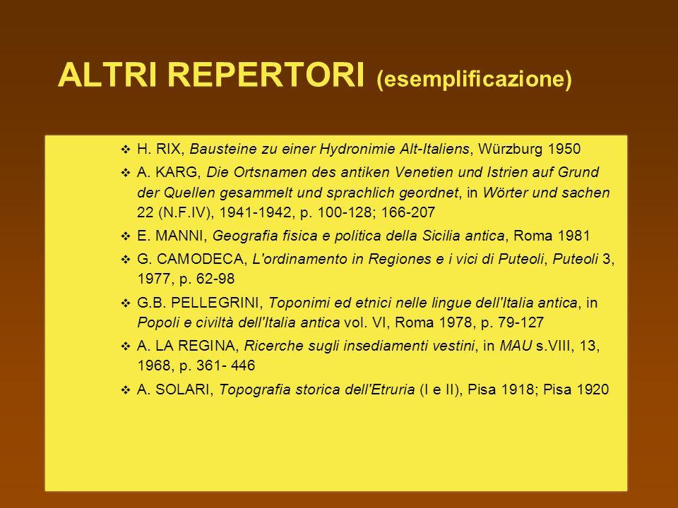 ALTRI REPERTORI (esemplificazione)
