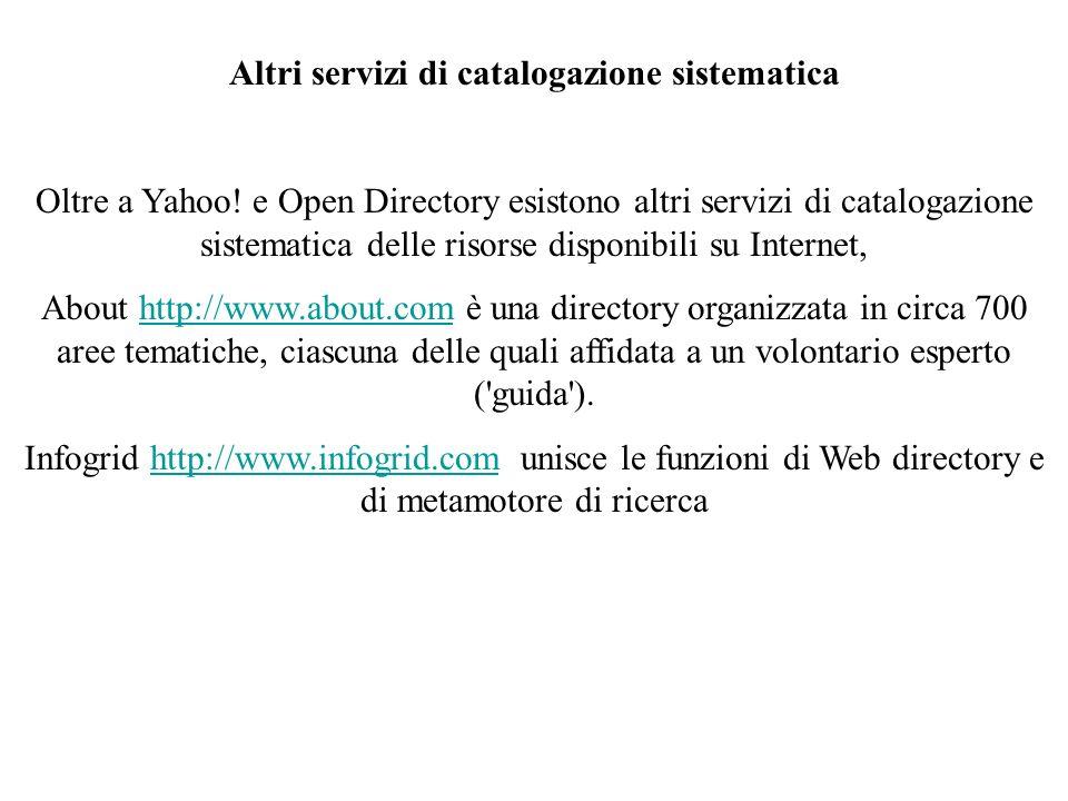 Altri servizi di catalogazione sistematica